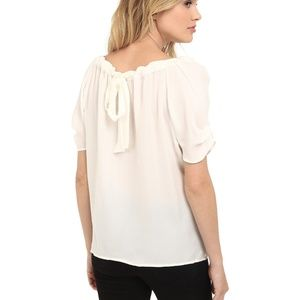 Joie Tops - Joie 'Eleanor' Silk Bow Top (PORCELAIN) (XS)